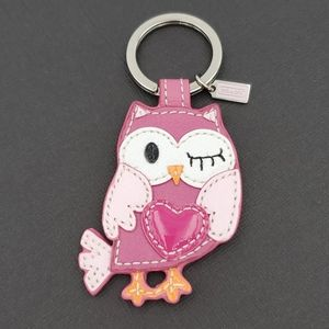 Coach Pink Leather Owl with Heart Keychain